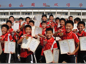 Chinese students after a incredible competition. Having success in life makes us grow and be more self-confident.