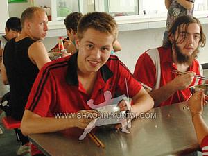 Student enjoying the food
